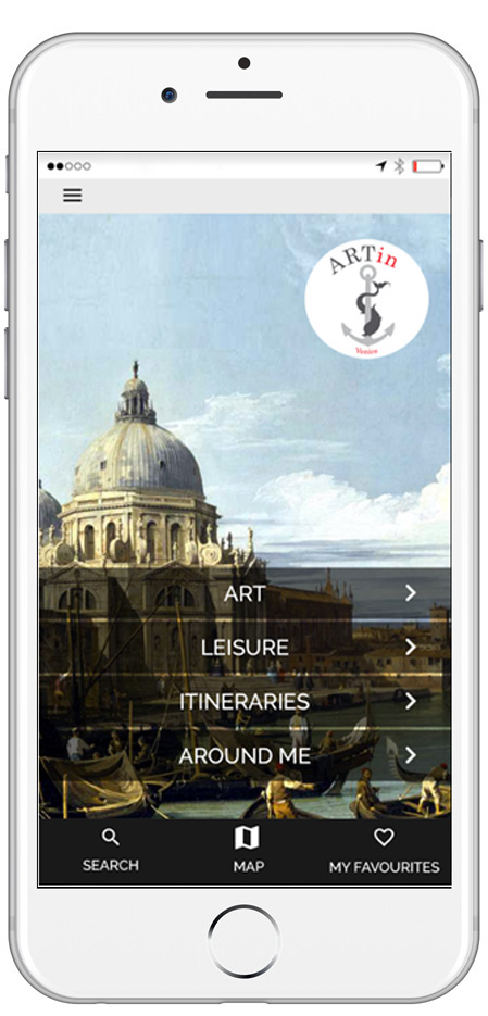 Homepage ARTin app with Santa Maria della Salute by Canaletto