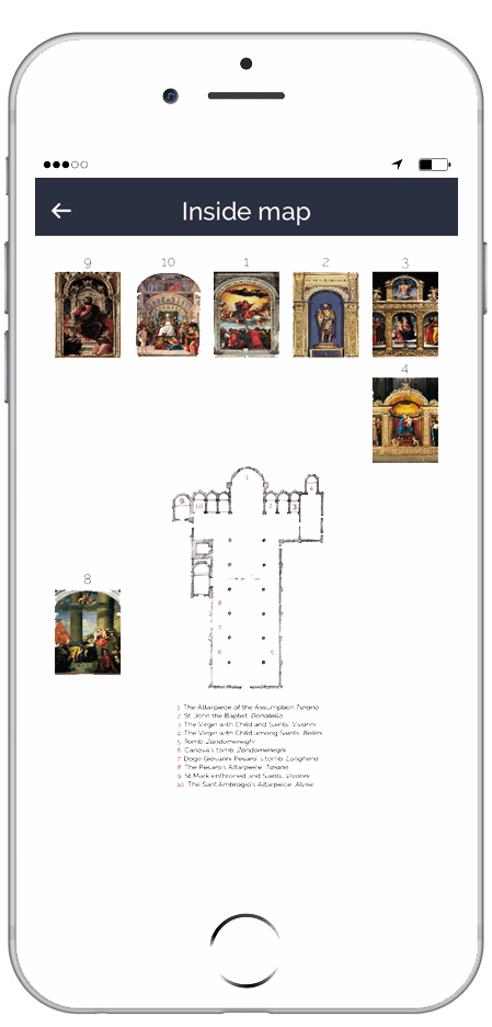 Esempio ARTin app Mappa interna Basilica dei Frari Venice - ARTin app