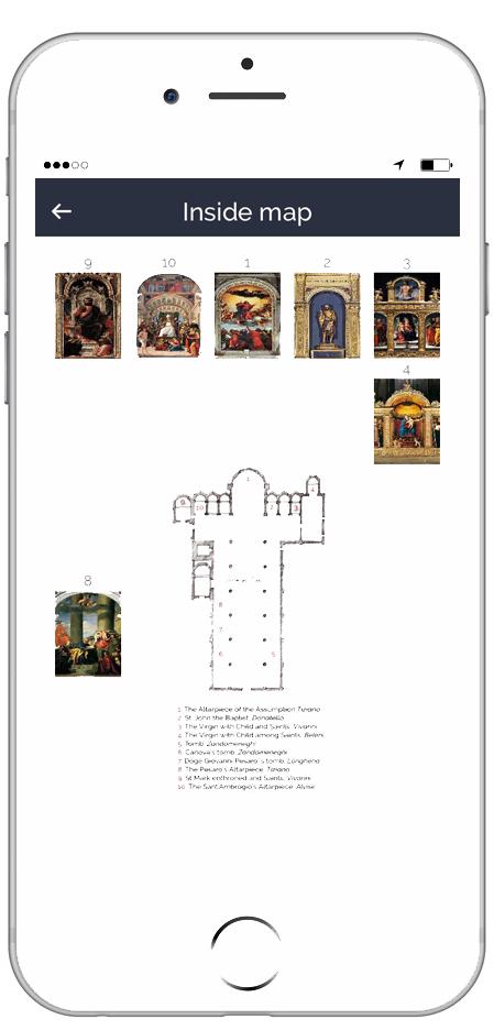 Sample ARTin app Inner map page Basilica dei Frari Venice - ARTin app