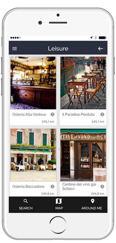 Sample ARTin app page Leisure, restaurant and hotel