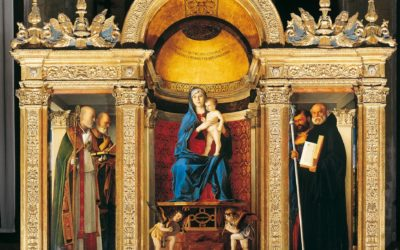 "The sacresty with the altarpiece ""The Virgin with Child among Saints"" by Bellini"